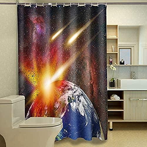Meteor Hit The Earth Starry Colorful Space Cortina de Ducha privada, Cortina de Ducha Decorativa, Impermeable y fácil de Quitar 180X180Cm