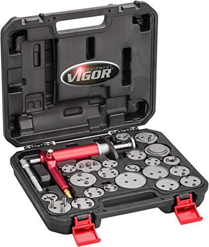 VIGOR Pneumatischer Bremskolben-Rückstellwerkzeug-Satz (23teilig, Druckluftspindel + 22 Adapterplatten) V1711N