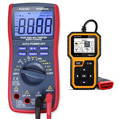AstroAI Digital Multimeter TRMS 6000 Counts Volt Meter and Multi-Functional OBD2 Scanner- Bundle