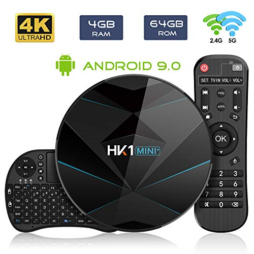 Android 9.0 TV Box 【4GB RAM 64GB ROM】 HK1 Dual-WiFi 2.4G/5.0G Android Box RK3318 Quad-Core Cortex-A53 64Bits BT 4.0 3D 4K Ultra HD H.265 USB 3.0 Smart TV Box