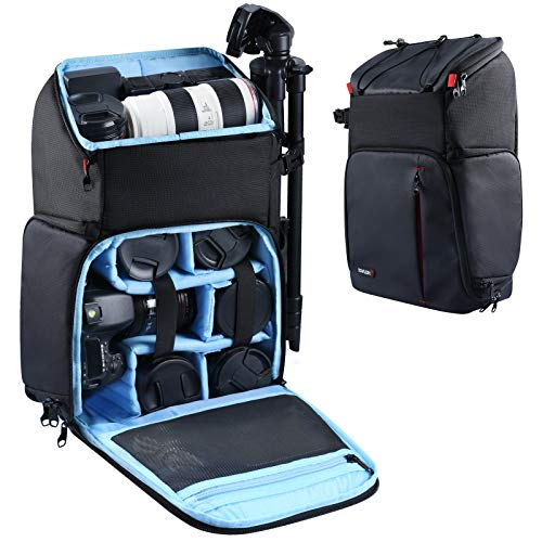 "Endurax Large Camera Backpack, Waterproof Cameras Bag Drone Backpacks for Photographers, 2 DSLR Camera Bags for Canon Nikon with 15.6"" Laptop Compartment"