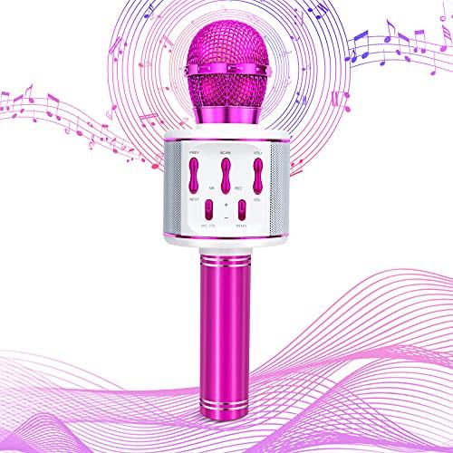 Olycism Microfono Karaoke Bluetooth Wireless per Bambini con Luci LED Multicolore Microfono Bluetooth Festa a Casa KTV per Cantare Compatibile con Android IOS PC Smartphone Viola