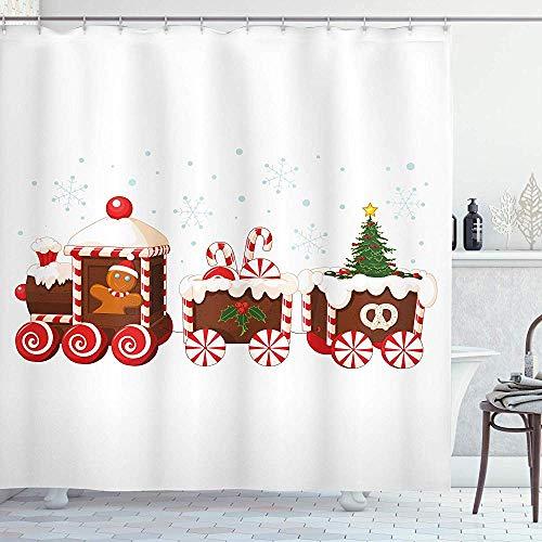 abby-shop Weihnachts-Duschvorhang, Süßigkeit-Cartoon-Spielzeug