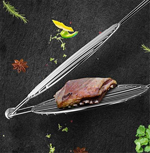 ZKAIAI La Parrilla de Barbacoa Cesta, Pescado a la Parrilla Clip de Acero Inoxidable a la Parrilla de Carne Asada Red de Pesca Rejilla de la Parrilla Ingre Familia Redonda Comercial Grande
