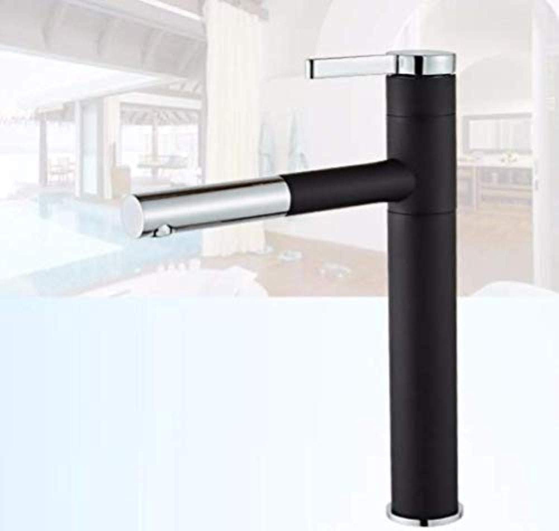 360 ° drehbarer Wasserhahn Retro Wasserhahn Kaltes Zuhause Waschbecken Waschbecken Teleskop Pull Typ Schwarz Bad Becken Wasserhahn