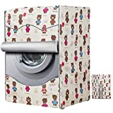 Mr. You Copertura Lavatrice per Esterno,Copertura Impermeabile per Lavatrice e Asciugatrice di Carica Frontale (Bear, 60 x 60 x 85 cm)