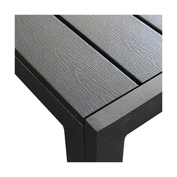 Wohaga® Terrassentisch Aluminium Gartentisch mit Polywood-Tischplatte 205x90cm Schwarz