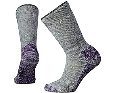 Smartwool Mountaineering Crew Socks -  Women's Extra Heavy Cushioned Wool Performance Sock Medium Gray-Mountain Purple L Female