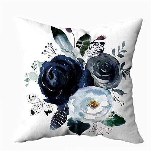 HerysTa Home Decorative Cotton Throw Pillow Case 20X20inch Invisible Zipper Cushion Cases Watercolor Floral Wreath Roses Peonies Leaves Boho Grey Navy White Indigo Blue Square Sofa Bed Décor,Gray Blue