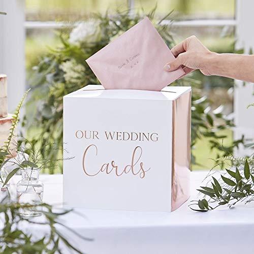 Geldbox brievenbus bruiloftspost OUR WEDDING CARDS wit & roségoud koper voor enveloppen bruiloftskaarten & geldgeschenken voor bruiloft enveloppen verzameldoos geldgeschenken accessoires & accessoires
