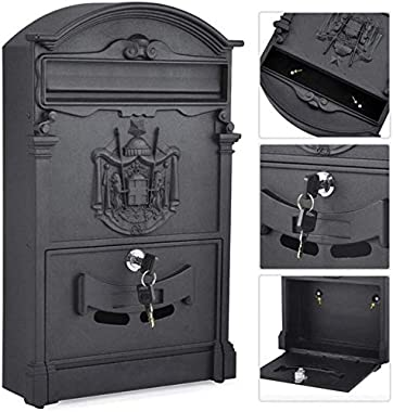 CTO Wall-Mount Letterboxes Mailbox Post Box European Cast Iron with Lock Wall-Mounted Waterproof Mailbox Post Box Mailbox