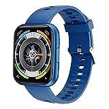 Rrunzfon Reloj Elegante, Sports Tracker Impermeable Pantalla 1.69 En Completa con Contador de Paso de Control de música Compatible con iPhone Android posicionamiento preciso Azul