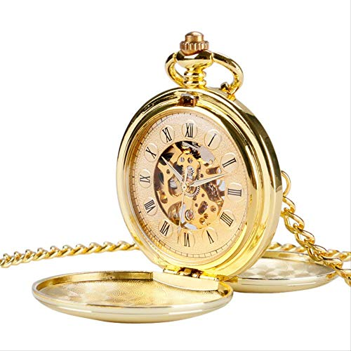 Orologio da Tasca Oro di Lusso Doppia Hunter Orologio da Tasca Meccanico della Mano Winding Regalo delle Donne degli Uomini di Scheletro FOB Orologi