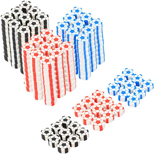com-four® 270x Mini Radiergummi in Fußball-Form - Radierer in bunten Farben - ideal als Mitgebsel auf Geburtstagen oder für die Schultüte [Auswahl variiert]