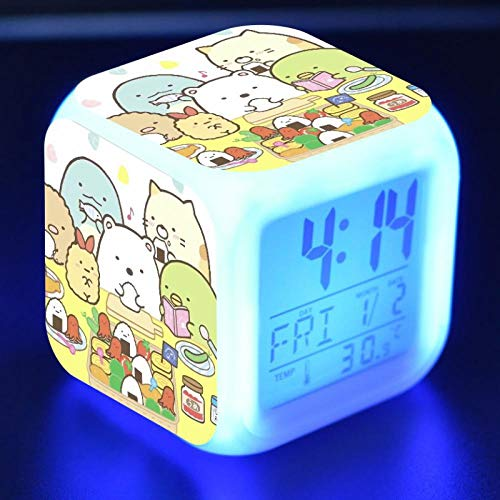 Kawaii Sumikkogurashi Anime Figure LED Alarm Clock Colorful Flash Touch Desk Light Flash Toys for Kids N29