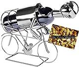 Brunbacker, portabottiglia da vino, motivo ciclista, in metallo, con biglietto per regalo