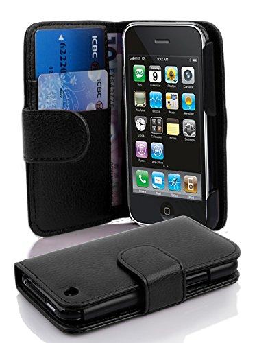 Cadorabo Hülle für Apple iPhone 3 / iPhone 3GS - Hülle in Oxid SCHWARZ – Handyhülle mit Kartenfach aus struktriertem Kunstleder - Case Cover Schutzhülle Etui Tasche Book Klapp Style