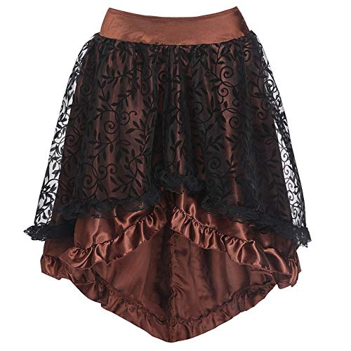 FRAUIT dames gothic kant rok bloemen hoge taille gothic nieuw high plus rok ruches pareo canga badpak rok masquerade festival party winkel dansparty rok
