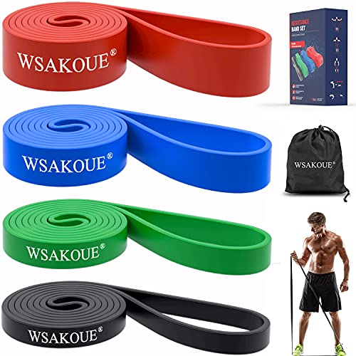 WSAKOUE Pull Up Assistance Bands, Resistance Bands Set for Men & Women, Exercise Bands Workout Bands for Working Out, Body Stretching, Powerlifting,...