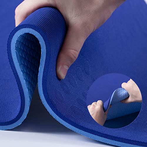 JELS Esterilla de yoga de TPE extragruesa de 10 mm, antideslizante, sin sustancias nocivas, alta resistencia, con correa, partículas antideslizantes 3D, para fitness y fitness, tamaño 183 cm x 66 cm