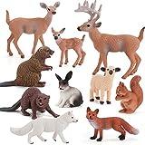 Figurine di animali del bosco Giocattoli, includono figurine di animali in vinile con cervi, conigli, volpi, castori, scoiattoli, animali della giungla in plastica di capra Set di giocattoli per bambi