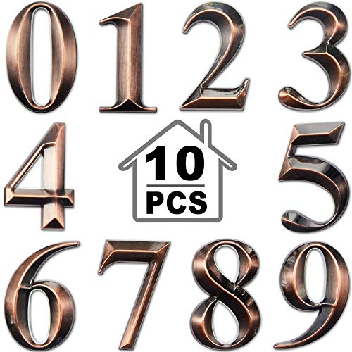 3D Mailbox Numbers 0-9 Self-Adhesive 2 Inch Address Number Stickers Door House Numbers Style Street Mailbox Sign for Apartment Home Office (Bronze,10 Pieces)