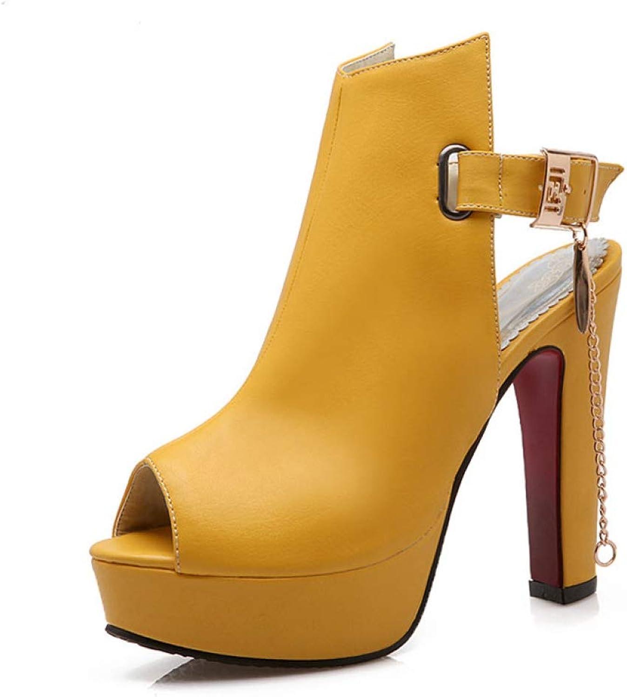 T-JULY Women High Heels Sandals Sexy Peep Toe Roman Sandals Chunky Heel Platform shoes Chain Buckle Summer