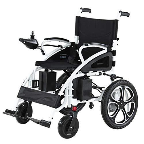 Best Price Portable Power Wheelchair,Foldable Lightweight Dual Battery Electric Wheelchair,Lightweight Portable Powerchair with Seat Belt (Color : A-Lead-Acid Batteries)