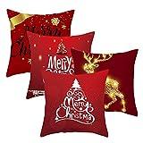 IWILCS 4 Stück Weihnachten Kissenbezüge, Weihnachtsdeko Kissenhülle, Sofa Home Kissen Cover mit schönem Weihnachten Muster, Elche, Weihnachtsbaum, Merry Christmas (Rot, 45 * 45cm)