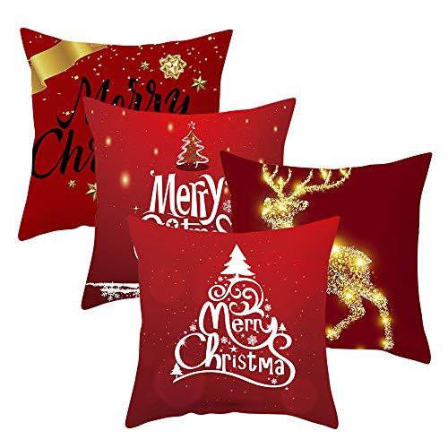 IWILCS 4 fundas de almohada de Navidad decorativas de terciopelo melocotón, con patrón de Navidad, color rojo