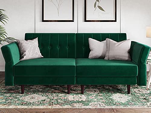 Belffin Velvet Futon Sofa Bed Double Adult 2 Seater Sofa Bed Settee Small Sofa Bed Two Seater Green