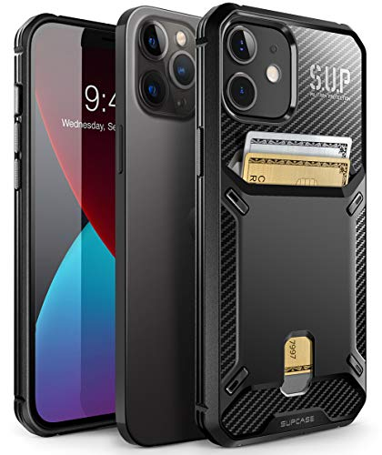 SUPCASE Unicorn Beetle Vault Series Case Cover for iPhone 12 / iPhone 12 Pro (2020 Release) 6.1 Inch, Slim Protective Wallet Case Cover with Built-in Card Holder (Black)