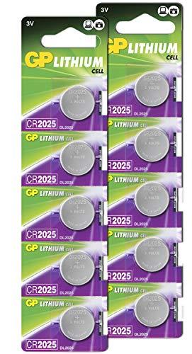 GP CR2025 3V - Pack de 10 Pilas CR 2025 de Litio botón | Si