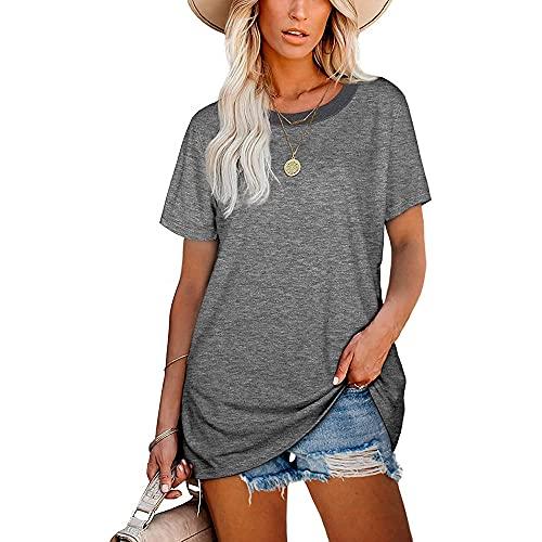 Mayntop Camiseta para mujer de verano con estampado de arco iris, estampado de leopardo, manga corta, blusa suelta con cuello en O
