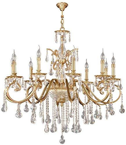 Hmvlw chandelier bar Candlestick chandelier, crystal chandelier, lightweight brass and crystal vintage chandelier, with K9 crystal raindrop antique chandelier, suitable for living room use, exudes a l