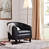 BELLEZE Modern Tub Barrel Accent Chair Upholstered Faux Leather With Nail head, Black