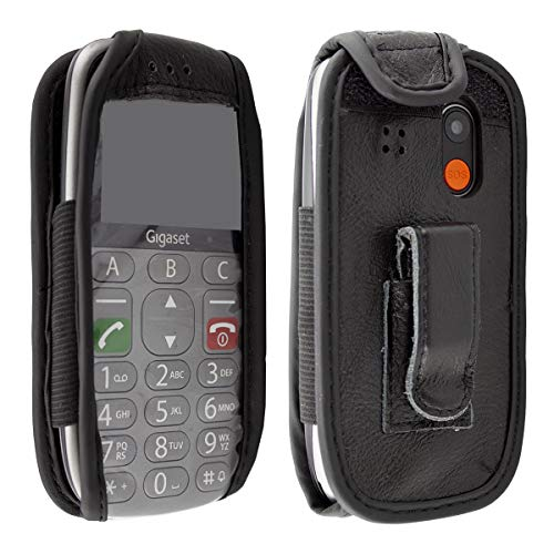 caseroxx Hülle Ledertasche mit Gürtelclip für Gigaset GL390 aus Echtleder, Tasche mit Gürtelclip & Sichtfenster in schwarz