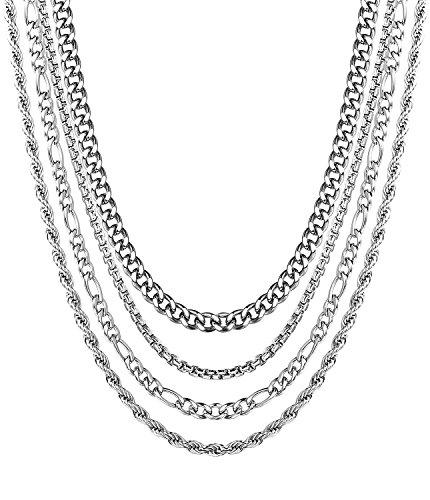 BESTEEL 4 Stück Edelstahl Halsketten Set für Herren Damen Kette Kandare Rolo Figaro Seil Halskette, Breite 2-3,5 MM Länge 41-51 cm