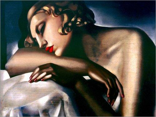 Leinwandbild 70 x 50 cm: Das schlafende Mädchen von Tamara de Lempicka / Museum Masters International - fertiges Wandbild, Bild auf Keilrahmen, Fertigbild auf echter Leinwand, Leinwanddruck