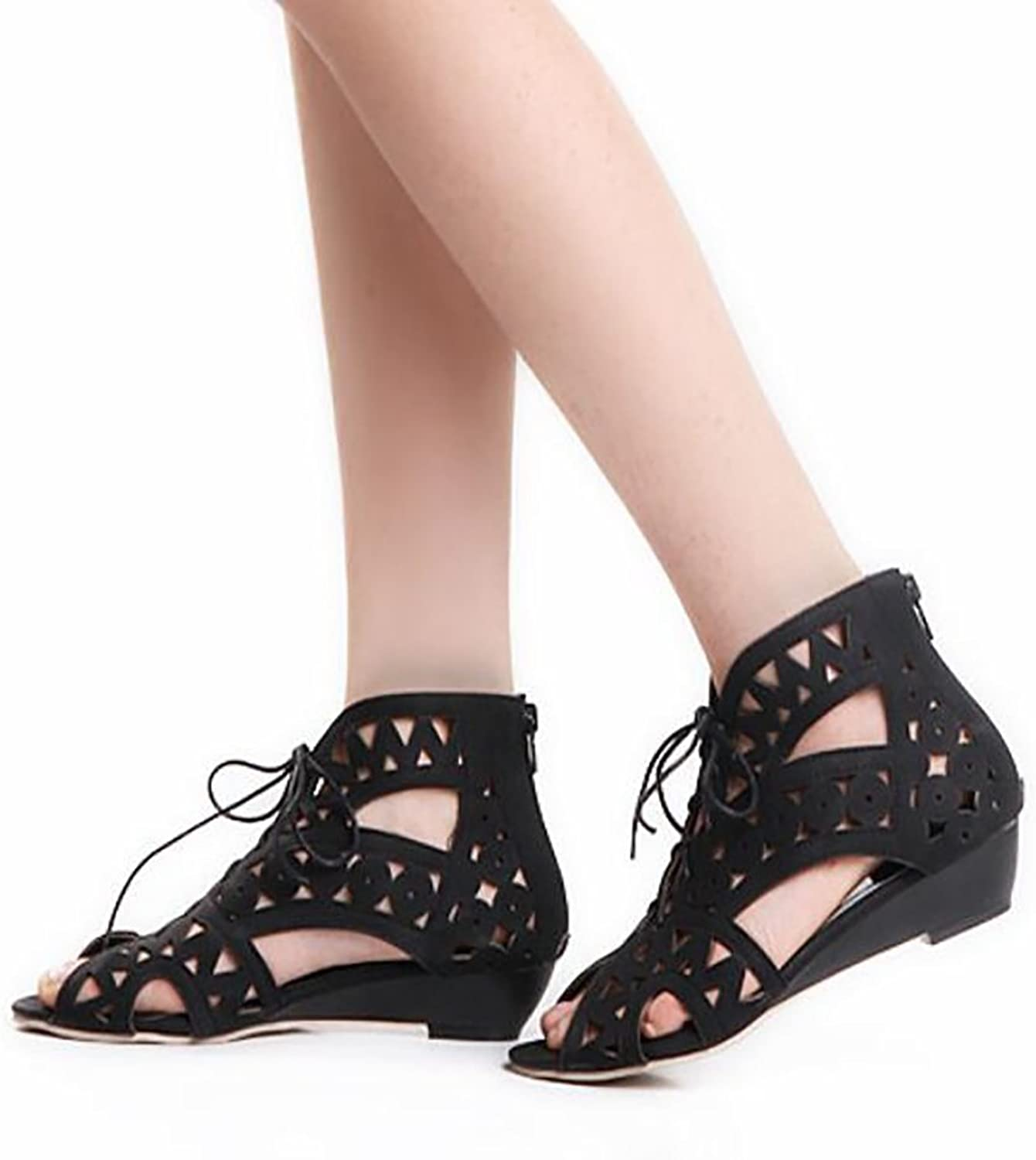 Summer Sandals Slipper Open Toe Ladies Low-Heeled Hollow Lace Lightweight Sandals,Black,36