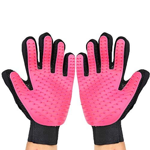 JiMany Pet Dog cat Beauty Hair Removal Gloves, Enhanced Five-Finger Design, Upgrade,Pink
