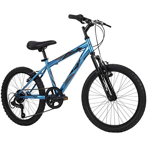 small Huffy Kids Hardtail Mountain Bike for Boys, Stone Mountain, 20inch, 6 Speed, Blue Metallic (73808)