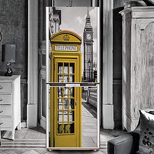 Angle&H 3D DIY Frigorifero Adesivi Vintage Città Giallo Telefono Cabina Arte Sfondo Casa Arredamento,60x180cm(23.6''x70.8'')