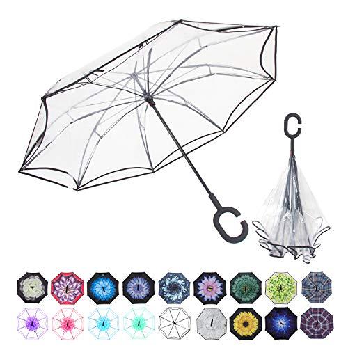 WASING Doppellagiger umgekehrter Regenschirm fürs Auto, winddicht, UV-Schutz, großer gerader Regenschirm für Auto-Regen im Freien mit C-förmigem Griff, durchsichtig