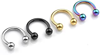 2-8pc 14G Stainless Steel Multi-Functional Lip/Nose/Nipple/Eyebrown Captive Hoop Ring Barbell Tragus Cartilage Stud Earrings 3/8