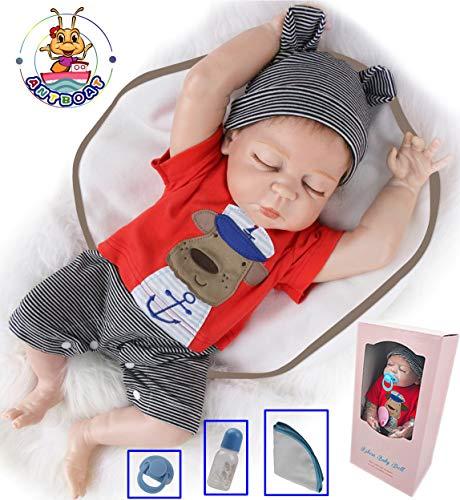 Antboat Muñecas Reborn Bebé Niño 18 Pulgadas 48cm Silicona de Cuerpo Completo Boca Real Hecho a Mano Realista Dormido Chicos de Baño Maniquí Magnético Reborn Doll