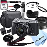 Canon EOS M6 Mark II (Silver) Mirrorless Digital Camera with 15-45mm Lens + 32GB Card, Tripod, Case, and More (18pc Bundle)