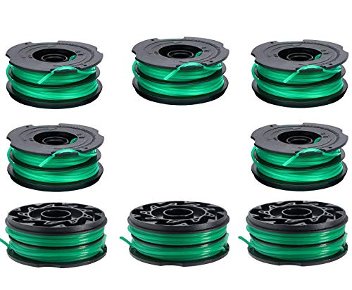 LEIMO DF-080 Spool Trimmer Replacement Spools Compatible with Black Decker GH1000 GH1100 GH2000 Weed Eater String, DF-080 Spool Line Refills, Dual Line Edger Parts 30ft 0.080 inch (8 Pack spools)