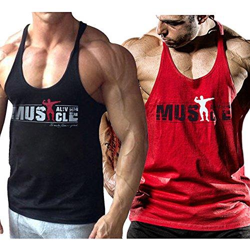 Alivebody Herren Bodybuilding Tank Top Strap Fitness Stringer Achselshirts Schwarz+Rot M