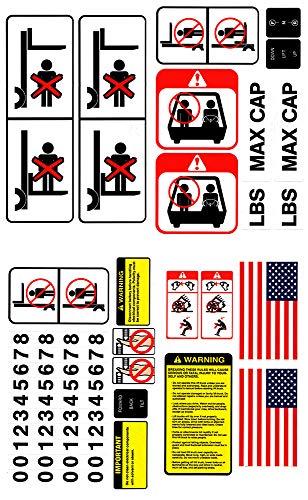 Bill's Lift Universal Gabelstapler Aufkleber-Kit für industrielle Hubwagen und Ausrüstung, OSHA-konform, detaillierte Sicherheitsaufkleber mit Vorsichten, Warnungen und mehr